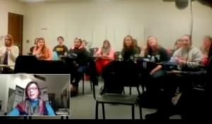 screen shot of Sue with EMU class